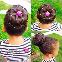 Bun hair style for little girls
