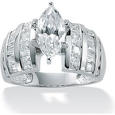 Ultimate CZ Platinum over Sterling Silver Clear Cubic Zirconia Ring | Overstock™ Shopping - Big Discounts on Palm Beach Jewelry Cubic Zirconia Rings