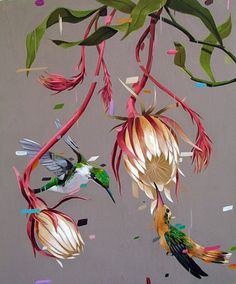 frank gonzales - epiphyllum flowers and hummingbirds floral art