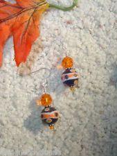 Halloween Fall Carnival Round Orange Black Earrings in .925 Sterling Silver
