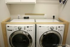 Awesome 48 Best Diy Laundry Room Makeover Ideas With Farmhouse Style. : Awesome 48 Best Diy Laundry Room Makeover Ideas With Farmhouse Style. Laundry Room Remodel, Laundry Closet, Laundry Room Organization, Basement Laundry, Washer Dryer Closet, Washer Dryer Shelf, Washer And Dryer Covers, Dark Basement, Small Laundry Rooms