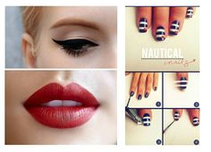 Nautical inspired makeup and nails