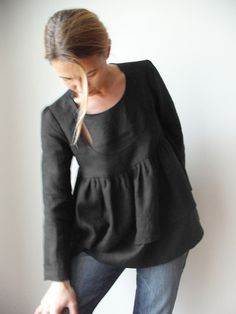 Bow Window fine linen blouse Dark Night by Isabel Amyo on Etsy