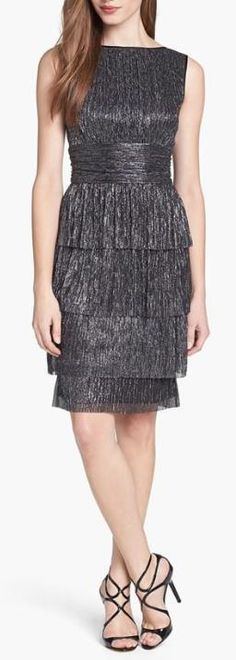 Great color!  Shimmer & Shine with a Metallic Sheath Dress