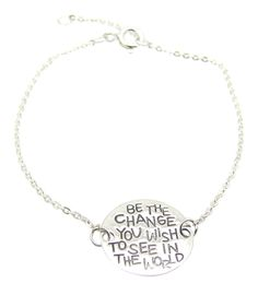Sterling Silver 'Be The Change You Wish To See In The World' Quote Bracelet, 6' to 7', Inspirational Gift *** Read more  at the image link. (This is an Amazon Affiliate link and I receive a commission for the sales)