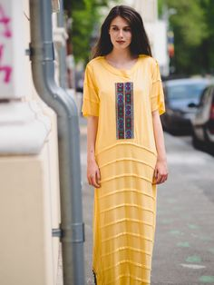 Maxi jersey dress with vintage patch (cut out of romanian blouse). Shirt Dress, Blouse, T Shirt, Vintage Patches, Street Style, Urban, Vintage Embroidery, Boohoo, Design