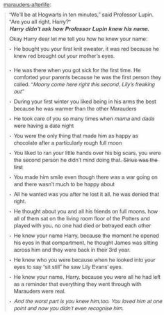 Written by @jilylicious on tumblr (previously marauders-afterlife). Go follow her, she's seriously awesome!!
