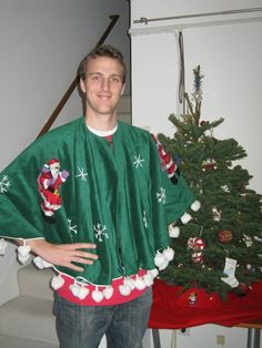 bad Christmas sweater.....for the ugly sweater party just embellish a tree skirt lol