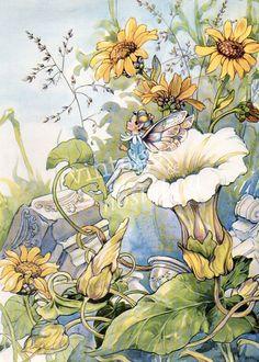 Nursery decor FAIRY Flowers Vintage illustration Blue fairy, flower garden, fairy wings, fantasy, bedroom decor. $10.95, via Etsy.