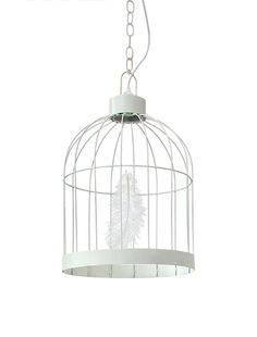 Birdcage Lamp in white powder coated seal designed by Young & Battaglia
