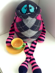 Giant Cashmere Smug Monster- plush toy upcycled from sweaters-OOAK on Etsy, $70.00