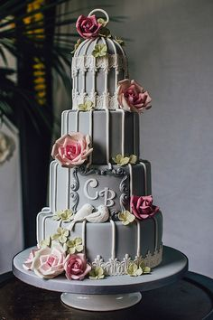 Grey Birdcage wedding cake. | Flickr - Photo Sharing!