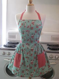 Vintage Inspired Turquoise Strawberry Full Apron