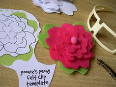   yoonie-at-home  : Peony Flower Felt Clip Tutorial + Template