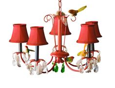 Birds of A Feather Red Chandelier. This may be purchased on ecofirstart.com