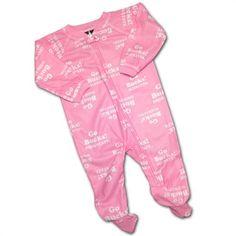 Baby Buckeye Pink Logo Covered PJ's #OhioState #Buckeyes #Baby #Infant #Sleeper #BabyFans Ohio State Baby, Pink Zip Ups, Collar And Cuff, Baby & Toddler Clothing, Pjs, Flame Retardant, Buckeyes, Logo, Cover