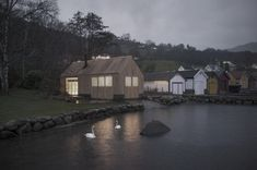 Completed in 2015 in Vikebygd, Norway. Images by Mattias Josefsson. Naust V is a collaboration between Koreo Architects and Kolab Architects. The project is a transformation of an old boathouse in Vikebygd, a small. Architecture Design, Le Hangar, Timber Cabin, Blog Design Inspiration, Lakefront Property, Old Boats, Tiny House Movement, Dezeen, Rustic Design