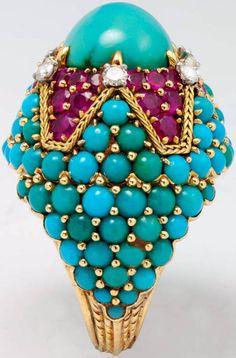 Marchak - Bague de Cocktail - Or, Turquoises, Diamants et Rubis - Années 60
