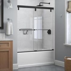 Delta Classic 400 Curve 60 in. x 62 in. Frameless Sliding Tub Door in Stainless-B55910-6030-SS - The Home Depot Bathtub Shower Doors, Glass Shower Panels, Bathtub Shower Combo, Frameless Sliding Shower Doors, Shower Seat, Bathtub With Glass Door, Shower With Tub, Glass Bathroom Door, Concrete Bathroom
