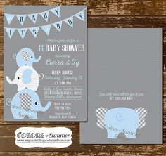 This baby shower invitation features three cute elephants, a gray polka dot background with a blue pendant banner that says Oh Baby, Its a Boy. The back design of the invitation has the back of an elephant and says, You will miss all the fun if you sit this one out. Also available for a GIRL: https://www.etsy.com/listing/262414254/pink-elephant-baby-shower-invitation-co?ref=shop_home_active_9  Colors of Summer – Baby Shower Digital Invitations Collection Size: 5x7 for Invite and 3.5 x 5 for…