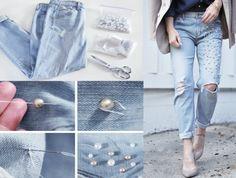 como hacer tu misma jeans con decoraciones de perlas