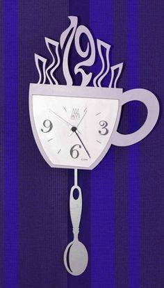 Coffee Wall Clock Cafe Logo, Clock Art, Cnc Projects, Time Clock, Wooden Clock, Scroll Saw, Coffee Art, Fashion Room, Wall Design