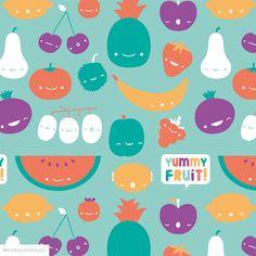 Kawaii fruit pattern design by http://ankepanke.nl