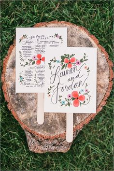 cute handmade wedding program fans #weddingceremony #programs #weddingchicks http://www.weddingchicks.com/2014/01/24/pinterest-inspired-vintage-wedding/