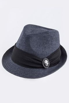 {Accent Crystal Ornate Framed Rose Woven Fedora}
