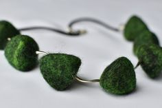 Triangular pyramid, green and black felted necklace. by DagiDola on Etsy