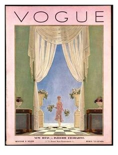 Pierre Brissaud Photograph - A Vintage Vogue Magazine Cover From 1928 by Pierre Brissaud Vogue Vintage, Vintage Vogue Covers, Vintage Art, Vintage Prints, Dress Vintage, Room Posters, Poster Wall, Poster Prints, Wall Art Posters
