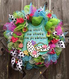 Summer Deco Mesh Wreath, Flipflop Wreath, The Polka Dot Flipflop on Etsy, $79.00