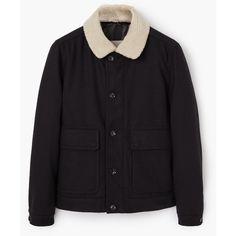 MANGO MAN MANGO MAN Faux Shearling Pocket Jacket ($65) ❤ liked on Polyvore featuring men's fashion, men's clothing, men's outerwear, men's jackets, men, outerwear, tops and jackets
