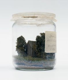 """""""Piece of Nature Preserved"""" (1973)  """"The small hut is a tongue-in-cheek commentary on the longing for a simple, back-to-the-roots way of life,"""" the museum suggests. """"Nature unharmed by destructive environmental forces can only be created in a glass capsule, as a model in the shape of a preserving jar."""""""
