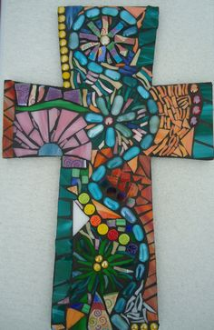 Mosaic Stained Glass Cross by BrokenBeautyMosaics on Etsy, $299.00