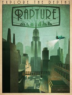 'Rapture Art-Deco Travel Poster' Art Print by Zigzugzwang F35, Bioshock Rapture, Bioshock 1, Bioshock Infinite, Unique Poster, Affordable Wall Art, Art Deco Posters, Visualisation, Funky Art