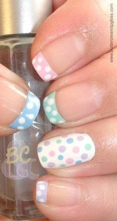 #Pastel Spring / Easter #nail_art | #polkadot french tips with white accent nail