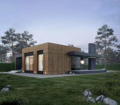The house, with an area of square meters was designed for a small family. The cottage includes a kitchen-living room, bedroom and children's room. Functionally, the house is divided into 2 parts - personal and general. This is also highlighted in th… Modern Small House Design, Minimalist House Design, Modern Residential Architecture, Architecture Design, Exterior Tradicional, Box Houses, Facade House, House Goals, Exterior Design