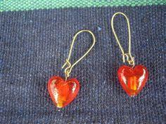 Ruby Red Heart Earrings by louloupoppy on Etsy, $8.00