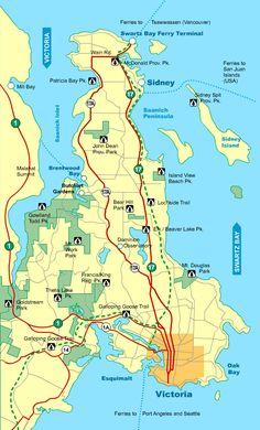Travel Map Saanich Peninsula, Vancouver Island BC Canada