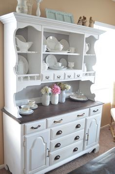Hutch Transformation Part 2 using bb frosch chalk paint powder. Cost less then $20 in paint. Dining room make over. Hardware and colors in post