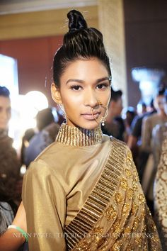 sparkly gold sari and nosering from Manish Malhotra   India Couture Week 2014