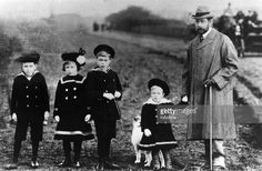 King George V, (1865 - 1936), as Prince of Wales with his children at Sandringham in Norfolk. From left, Prince Albert (1895 -1952), the Countess of Lascelles, Princess Mary (1897 - 1965), Prince Edward (1894 - 1972) and Prince Henry (1900 - 1974).