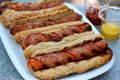 Bacon-Wrapped Hot Dogs - omg, yes please #recipes