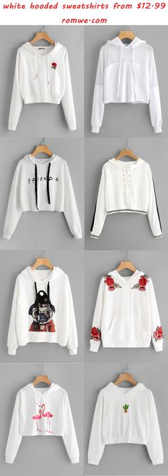 white hooded sweatshirts - romwe.com