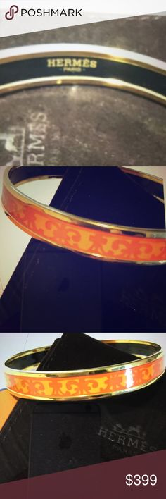 Hermes Bracelet Hermes Enamel BALCONS DU GUADALQUIVIR Bangle. This is no longer available in this color hard to find this bracelet is in excellent condition. Size GM large. Made in France R Hermes Jewelry Bracelets