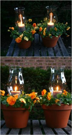 A glowing twist on those terra cotta potted plants ~ have it do triple duty in the evenings by adding citronella candles to repel those mosquitos. deck decorating potted plants 27 Decorative Terra Cotta Crafts To Beautify Your Outdoor Spaces