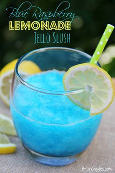 Blue Raspberry Lemonade Jello Slush - a cool and beautiful refreshing drink. Perfect for kids, summer parties and BBQs...