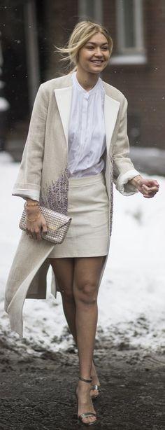 Gigi Hadid wearing all white street style during New York Fashion Week