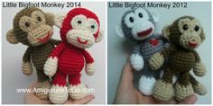 Amigurumi To Go: Little Bigfoot Monkey Revised Pattern Video Tutorial -- I've made this guy, he turns out so cute!  I placed animal toy squeaked in their tummies and it works out beautifully.